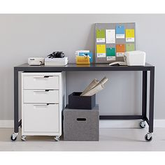 TPS white file cabinet in office furniture | CB2 - white or orange for under sofa table in living room