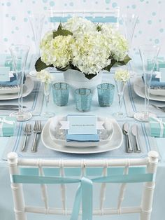 table settings, centerpiec, color, tiffany blue, breakfast at tiffanys, tiffani blue, blues, tabl set, bridal showers