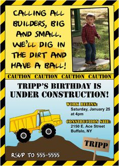 PRINTABLE Construction Birthday Party Invite - Personalized by us with your custom text and PHOTO
