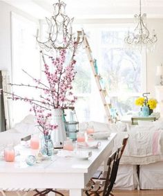 cherry blossoms ladder, cherri, table settings, dining rooms, dreamy whites, color, shabby chic, mason jars, cherry blossoms