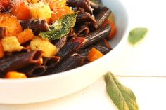 Cabernet Penne in Sage Brown Butter with Roasted Butternut Squash and Apples - Geez Louise!