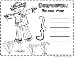 Scarecrow Brace Map and Scarecrow Bookmarks. FREE!!!! download by FIRST GRADE SCHOOLHOUSE. Scarecrow Brace Map is from I Love Autumn Literacy and Math$ at www.teacherspayte... {for first grade} Includes 3 literacy and 3 math activities and graphic organizers, scarecrow glyph and craftivity, writing activities, survey, poem writing, owl activities, pumpkin booklet, and more.