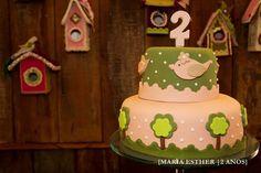 Bolo de passarinho (combinando com a arte do convite! ) , aniversário Maria Esther.  Bird themed birthday