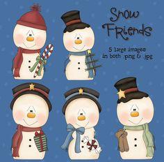 Snowfriends - Digital Scrapbooking Images Winter Snowman Clipart