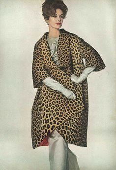 LET'S PRETEND THIS COAT IS NOT REAL LEOPARD (BUT IT IS)!! SHAMEFUL!! ANNE ST. MARIE IN VOGUE NOVEMBER 1958