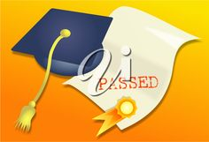 iCLIPART - Clip Art Illustration of a Graduate's Mortar Board and Certificate