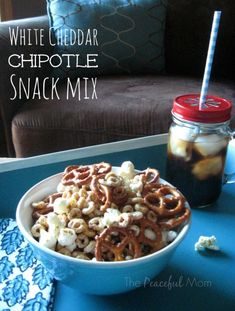 White Cheddar Chipotle Snack Mix Recipe from The Peaceful Mom  #biggcerealmovies  #spon