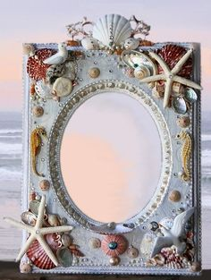 mirrors, craft, frame, charms, candle holders, candles, diy seashells, country, seashel mirror