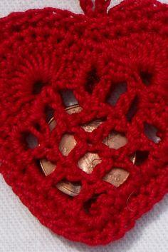 crochet heart penny