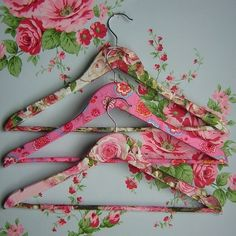 Decoupage old wooden hangers as gifts