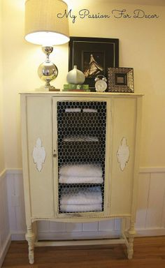China Cabinet Makeover In Graphite, Cream and Pure White.  Good use for storing fabrics in sewing room