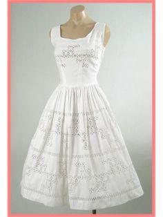 50's White Full Skirt Tea Length Dress w/Crochet Lace Inserts