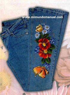 bolsos de jeans pintados a mano