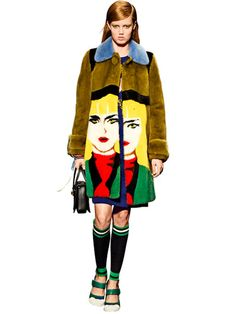 Miuccia Prada's vibrant fur coat is the picture of outwear perfection.
