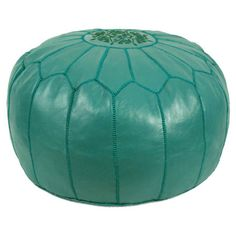 Jessa Leather Pouf in Teal at Joss & Main