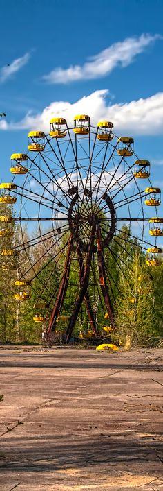 The Ferris Wheel in the abandoned city Ukraine.