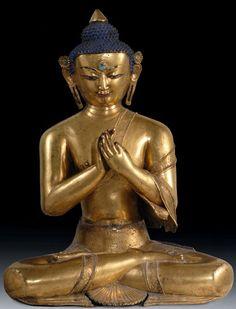 Sakyamuni Buddha   Nepal  Malla Period, 14th century  Casting gilded copper alloy