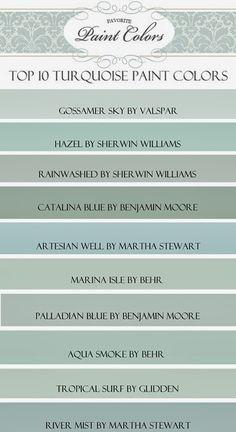 Top Ten Turquoise Paint Colors - Favorite Paint Colors Blog