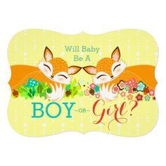 Lil Foxie Cubs - Gender Reveal Baby Shower Invites