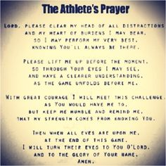 Athlete's prayer ~