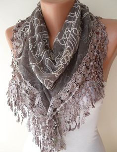 Light Brown Scarf with Light Brown Trim Edge  by SwedishShop, $17.90