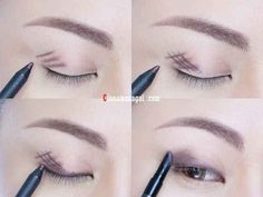 Forgo eyeshadow and instead, cross-hatch gel liner onto lids and blend for long-lasting, budge-proof coverage.   19 Awesome Eye Makeup Ideas For Asians