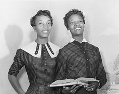 JoAnne Smart and Bettye Ann Davis, 1950s. First 2 African American Students at Women's College (later named University of North Carolina). They began attending in 1956 and graduated in 1960.