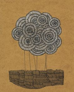 """Art Print, Fields of Summer: Dandelions, Ink and Colored Pencil Drawing, 8""""x10. $12.00, via Etsy."""