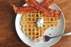 cheesy bacon waffles by the baking robot. 'nuff said.