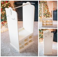 Children's Dress-Up Organizer ~ inspires Creativity and Adventure! I'd make little boxes for each dress up outfits accessories and put them in the little cubbies. Shoes would go below the hanging clothes and I'd make more hanging hooks on the side for little girls jewelry.