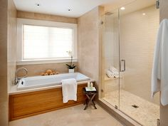 Contemporary bathroom. wood panel across the front of bath