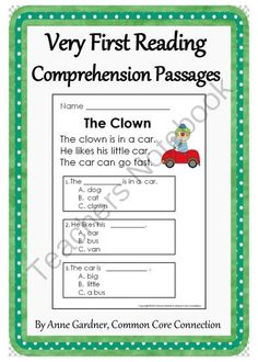 Very First Reading Comprehension Passages! Enter for your chance to win 1 of 5.  Very First Reading Comprehension Passages: Guided Reading Level C (23 pages) from Common Core Connection on TeachersNotebook.com (Ends on on 10-3-2014)  Win a set of Very First Reading Comprehension Passages ~ Guided Reading Level C