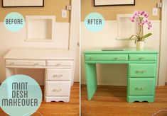 furniture painting tip--use flat paint then spray on clear gloss enamel. would have helped me avoid the problems I had with high gloss enamel not adhering properly on the dresser I repainted...next time, I'll try this!
