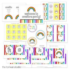rainbow printable party collection by tomkat studio