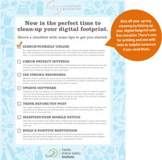 Clean Up Your Digital Footprint | A Platform for Good (via the Family Online Safety Institute)