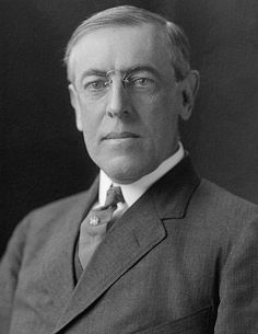 Woodrow Wilson (1856 -1924) 28th U.S. President that served between 1913-1921. He served as President during the First World War keeping the U.S. out of it until a German U-Boat sunk a U.S. Cruise Liner named the Lusitania in 1918. The war began in 1914 and basically came to a stale mate, but once the U.S. entered the war, it only lasted less than 6 months and the Central Powers surrendered and the treaty was signed in Versailles, France.