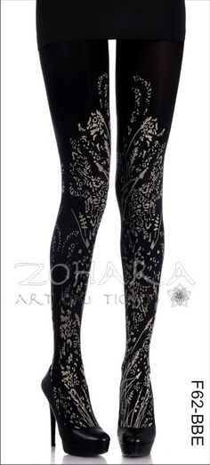Tiger Fields on Black FOOTLESS Tights field, fashion, footless tight, style, grey tight, legwear, zohara tights, crop black, lace tight