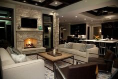 decor, coffee tables, living rooms, dream, basement, family rooms, living room designs, live room, stone fireplaces