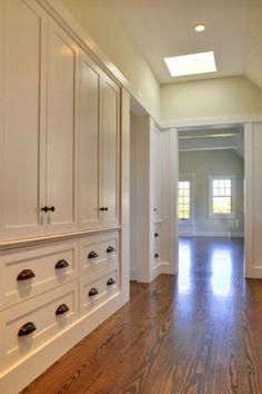 Wonderful 63 Clever Hallway Storage Ideas : 63 Clever Hallway Storage Ideas With White Wall Wooden Storage Wardrobe Lamp Hardwood Floor