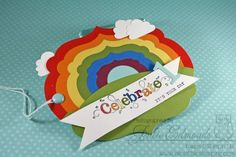 Stampin' Up!  Label rainbow tag