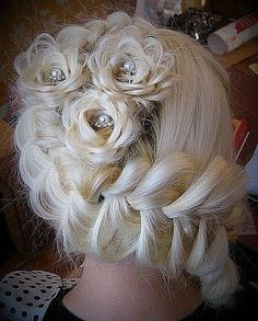 Flowers made of hair. Bridal Hair Style, Unique Hair styles.