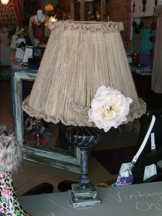 Vintage Lamp re-fab.  Jute cord lampshade distressed base.