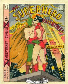 My Superhero Valentine, Male Nude Figure Drawing Fine Art Erotic comic superhero valentine vintage gay