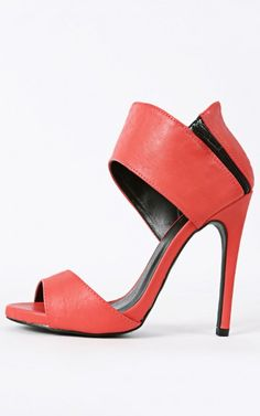 Qupid Glee-25 Leatherette Ankle Cuff Heels CORAL