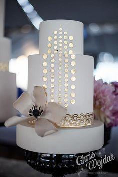 Cool modern gold wedding cake