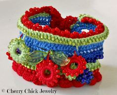 Cherries Beaded Cuff Crocheted Bracelet... <3 <3 #Cherries #Crochet #CrochetedBracelet #CrochetJewelry #CuffBracelet