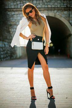 How to Chic: FASHION BLOGGER STYLE - GUIADEESTILO skirt, jacket, bag, fashion blogger, night outfits, shoe