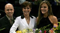 Dorothy Hamill with Scott Hamilton and Peggy Fleming at the 2006 U.S. Championships.