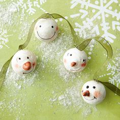 DIY Tutorial - Make a Snowman Faces Garland  #Christmas #Ornament #Decoration