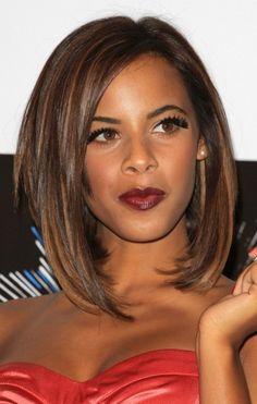 sleek long bob (SUBTLE a-line) slightly off centered part with side swept bangs. warm dark chestnut brown hair color with caramel highlights.